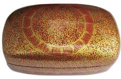 IndicHues Handmade Rectangular Red Chinar Leaves on Brown Paper Machie Jewelry Box from Kashmir