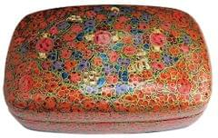 IndicHues Handmade Rectangular Orange Floral Paper Machie Jewelry Box from Kashmir