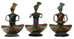 IndicHues Wrought Iron Metal Tribal Sitting Musician Set of 3