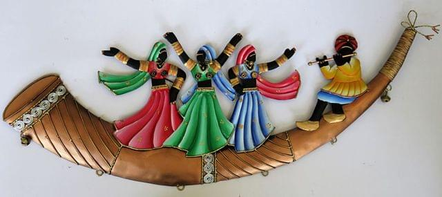 """IndicHues Wrought Iron Tribal Folk Dancers Wall Art Decorative for Home Decor (25.5""""x9"""")"""