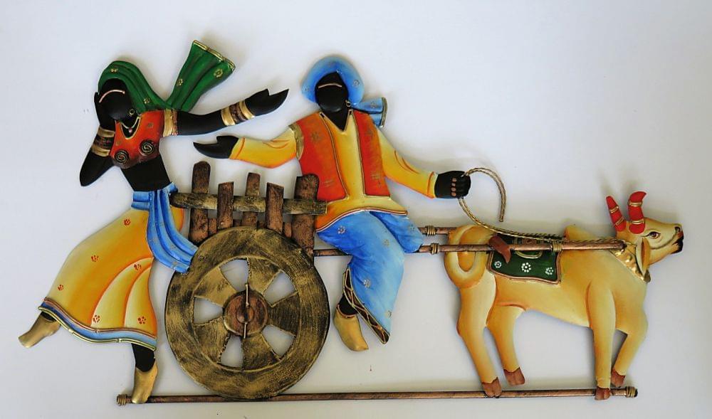 "IndicHues Wrought Iron Tribal Couple On Bullock Cart Wall Art (23""x12.5"")"