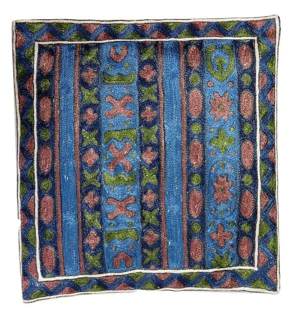 IndicHues Hand Embroidered Kashmiri Crewel 16x16 Cushion Cover in Geometric Pattern