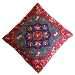IndicHues Hand Embroidered Kashmiri Crewel 16x16 Cushion Cover in Floral motif with Red Border