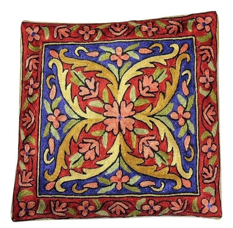 IndicHues Hand Embroidered Kashmiri Crewel 16x16 Cushion Cover in Red Floral motif