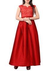 Red Printed Silk Blend Full Length Dress