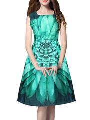 Green Satin Fit Flared Dress