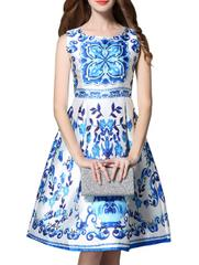 Blue Skater Satin Dress