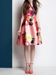 Amazing Floral Printed Satin Dress-30063