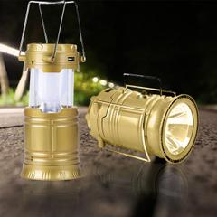 6 LED Solar Power Camping Lantern Light Rechargable Collapsible Night Light Waterproof Outdoor Super Bright Hiking Flashlight-Brown, (COLOUR MAY VARY