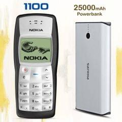 Nokia 1100 Mobile with Free 25000 mAh Power Bank
