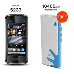 Nokia 5233 Mobile with Free 10400 Power Bank