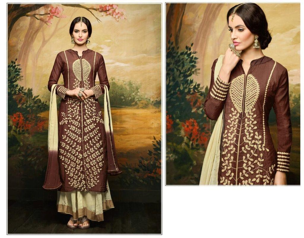 Aarika Semi Stitched Suit with Hand Work Embroidery
