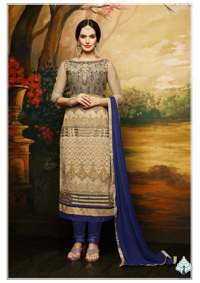Aarika Hand Worked Gold and Blue Semi Stitched Suit