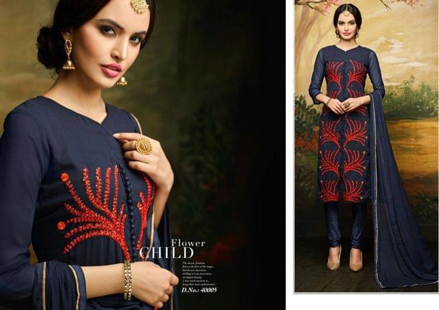 Aarika Deep Blue Semi Stitched Suit with Hand worked Embroidery