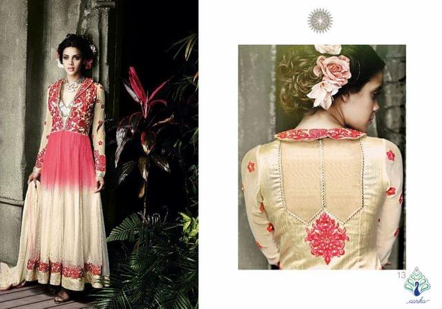 Aarika Peach and Ivory Anarkali in Georgette