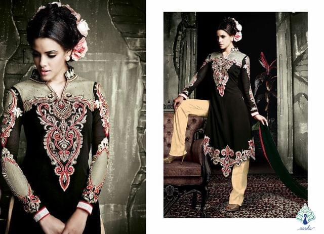 Semi Stitched Georgette Suit