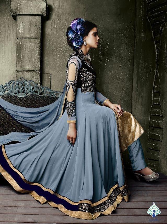 Aarika Gorgeous Grey Anarkali in Georgette