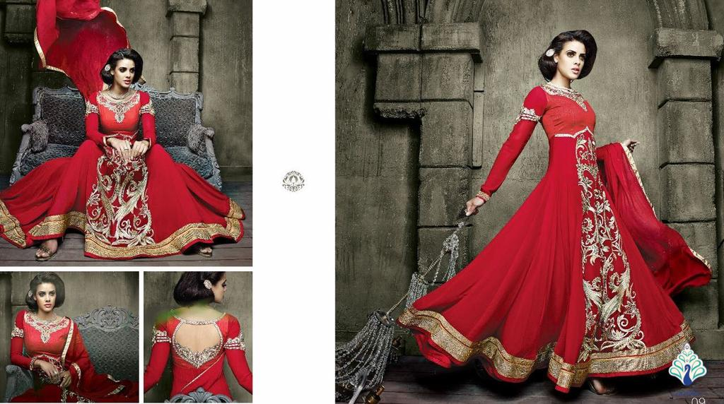 Aarika Georgette Anarkali in Regal Red