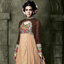 Aarika Stunning Chocolate Brown Anarkali in Georgette