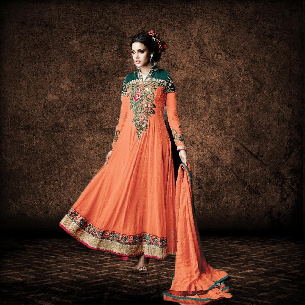 Aarika Orange and Green Georgette Anarkali Set