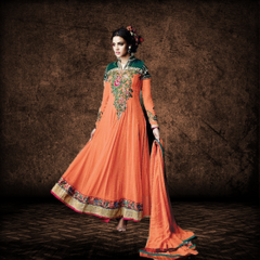 Aarika Orange and Green Georgette Anarkali Set