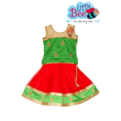 Little Bee Red and Green Netted Lehenga Choli