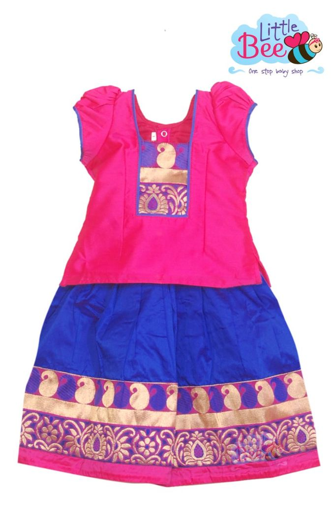 Little Bee Pink and Blue Pattu Pavadai
