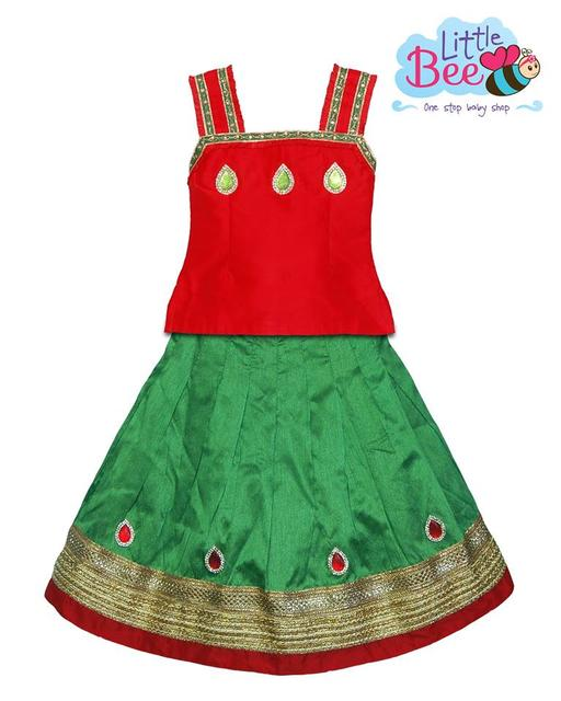 Little Bee Red and Green Raw Silk Sleeveless Lehenga