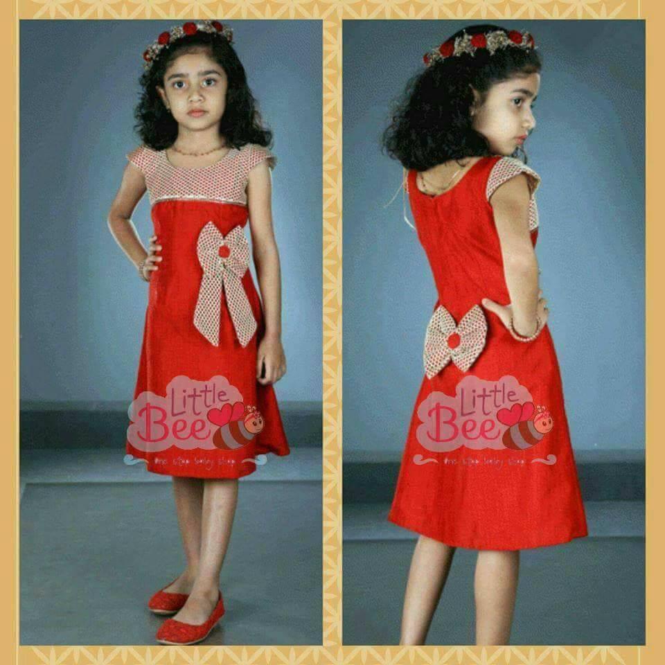 Little Bee Red Flower Girl Dress