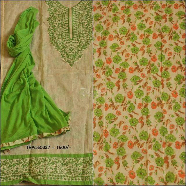 Trayee Cream and Green Chanderi Set