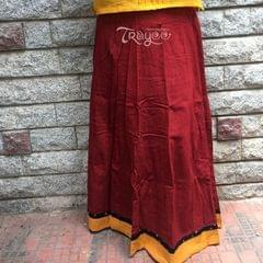 Trayee Maroon Cotton Full Length Skirt