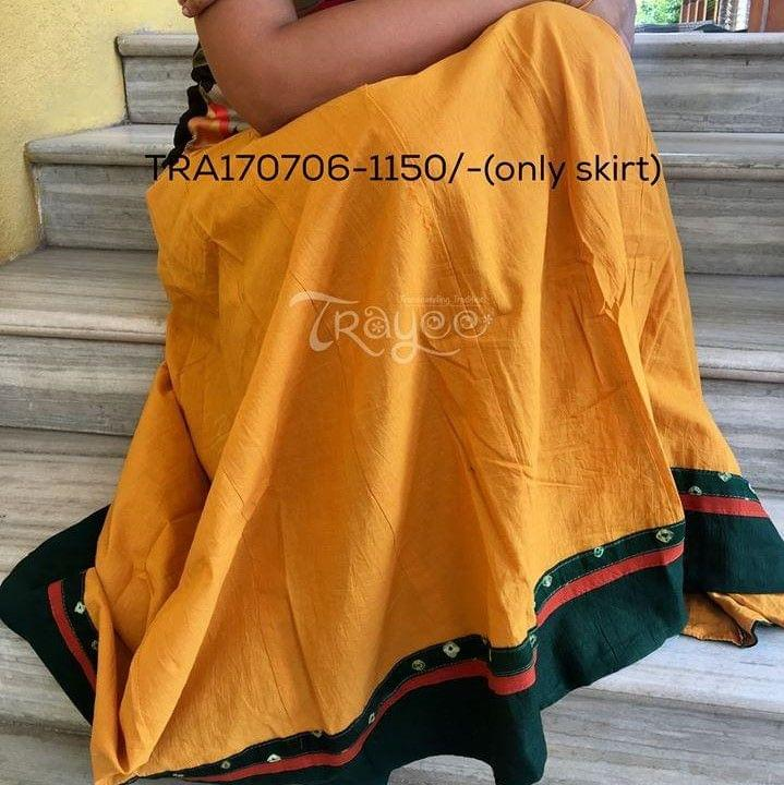 Trayee Mustard Cotton Full Length Skirt