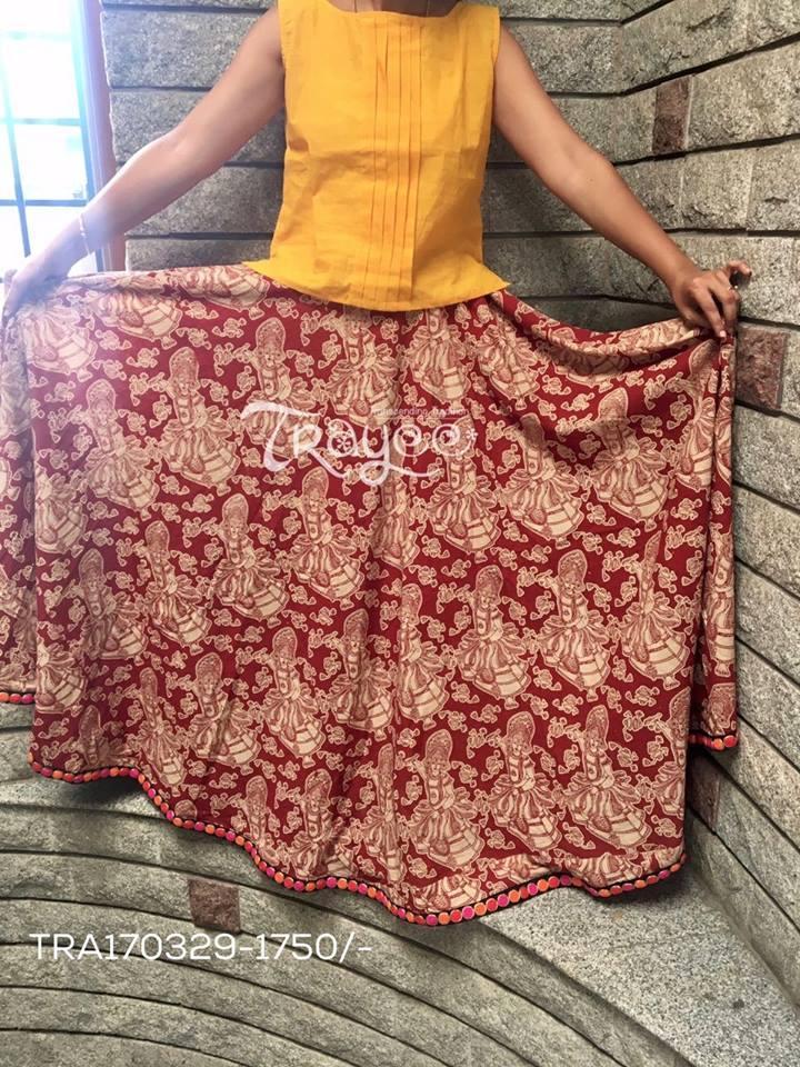 Trayee Kalamkari Printed Full Length Flared Skirt