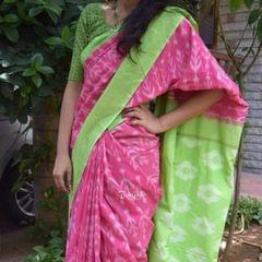 Trayee Pink Handloom Ikkat Cotton Saree