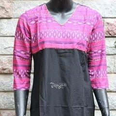 Trayee Black and Purple Cotton Kurta Size L