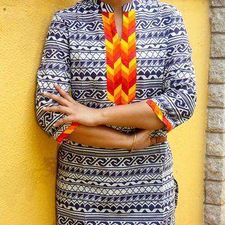 Trayee Striped Blue Cotton Kurta Size XL