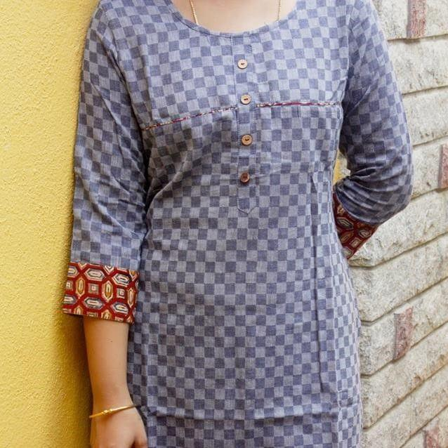 Trayee Grey Cotton Kurta