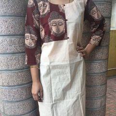 Trayee Cream Kalamkari Kurta With Buddha Prints Size M