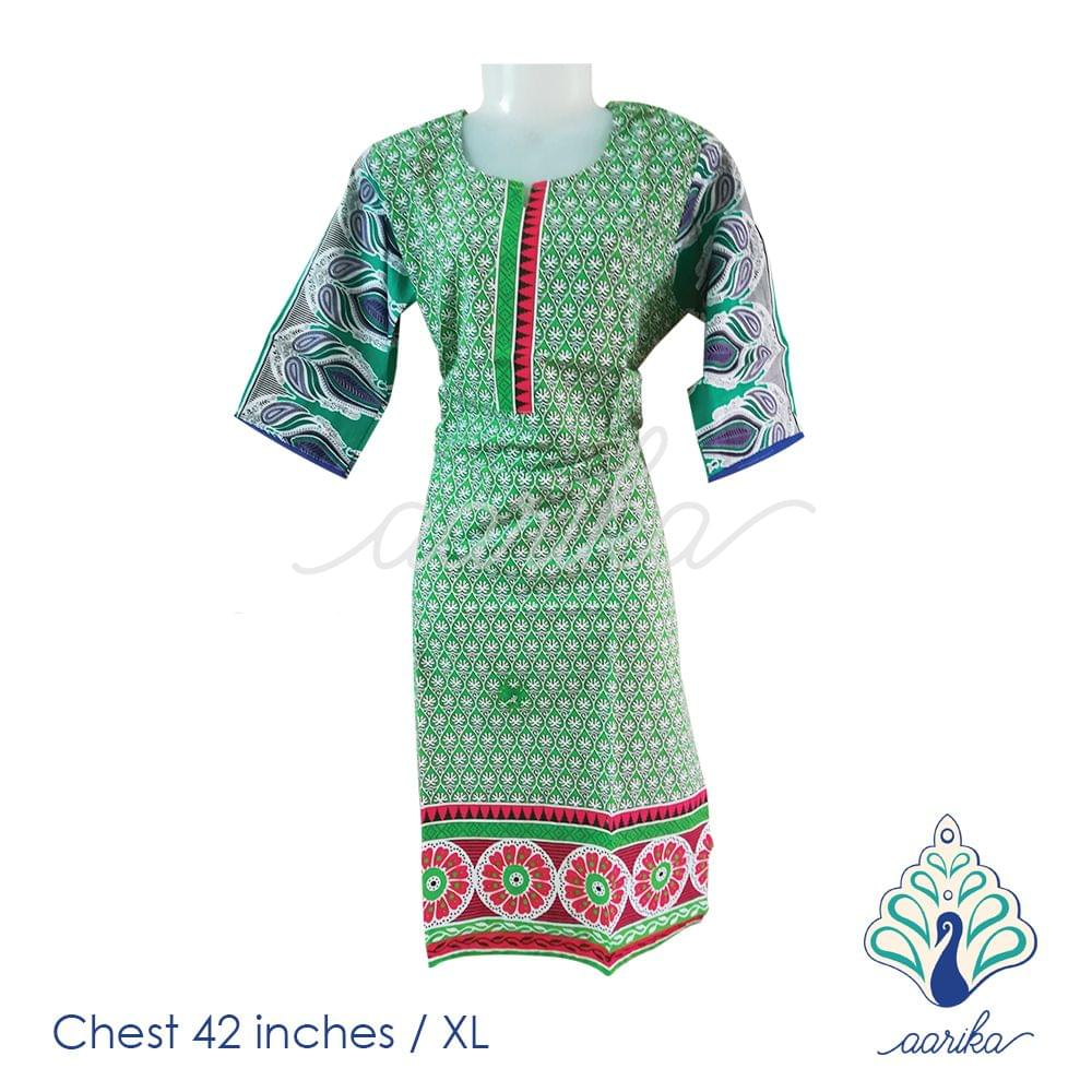 Aarika Green Printed Cotton Kurtha Size XL