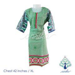 Aarika Green Printed Cotton Kurtha Size XL
