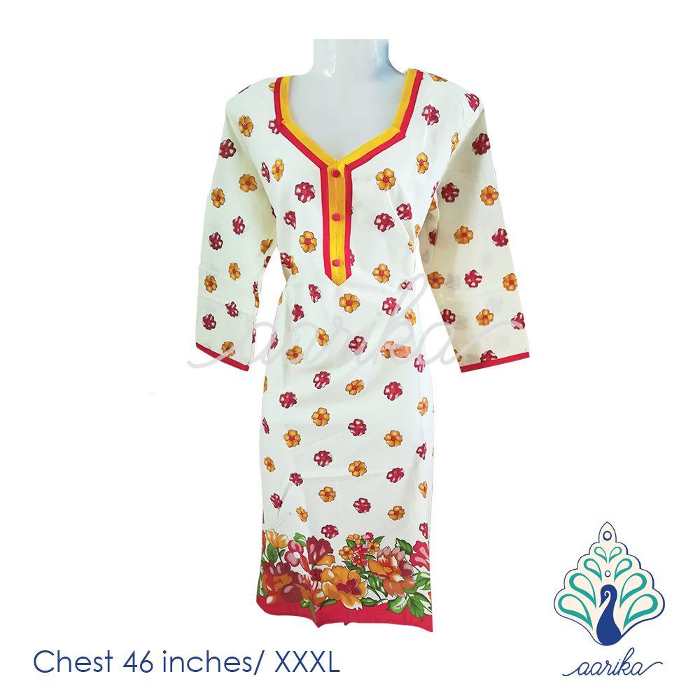 Aarika Cotton Floral Kurta Size XXXL