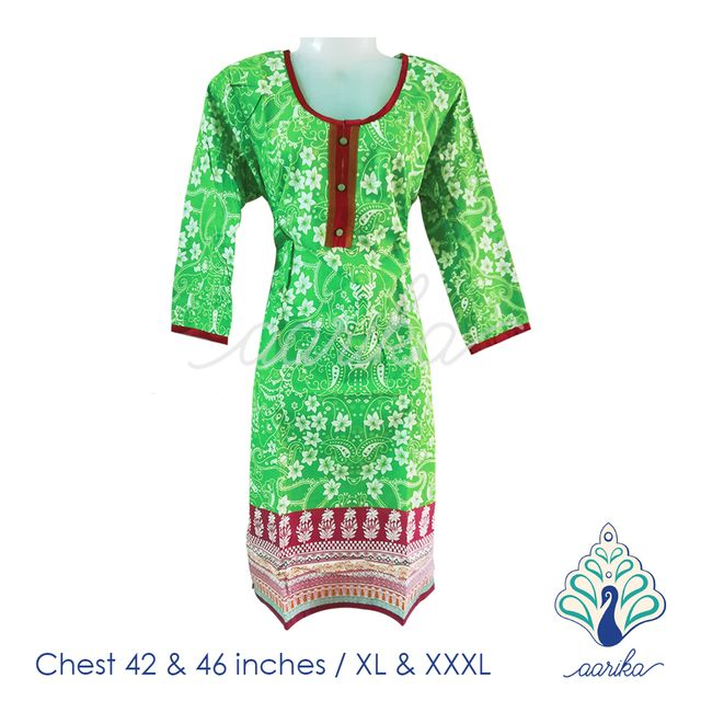 Aarika Green and Red Cotton Kurtha