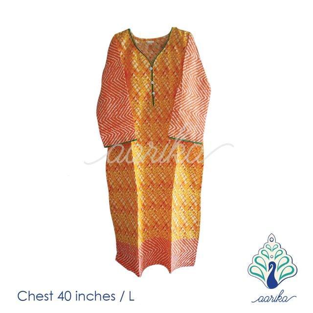 Aarika Orange Printed Cotton Kurtha Size L