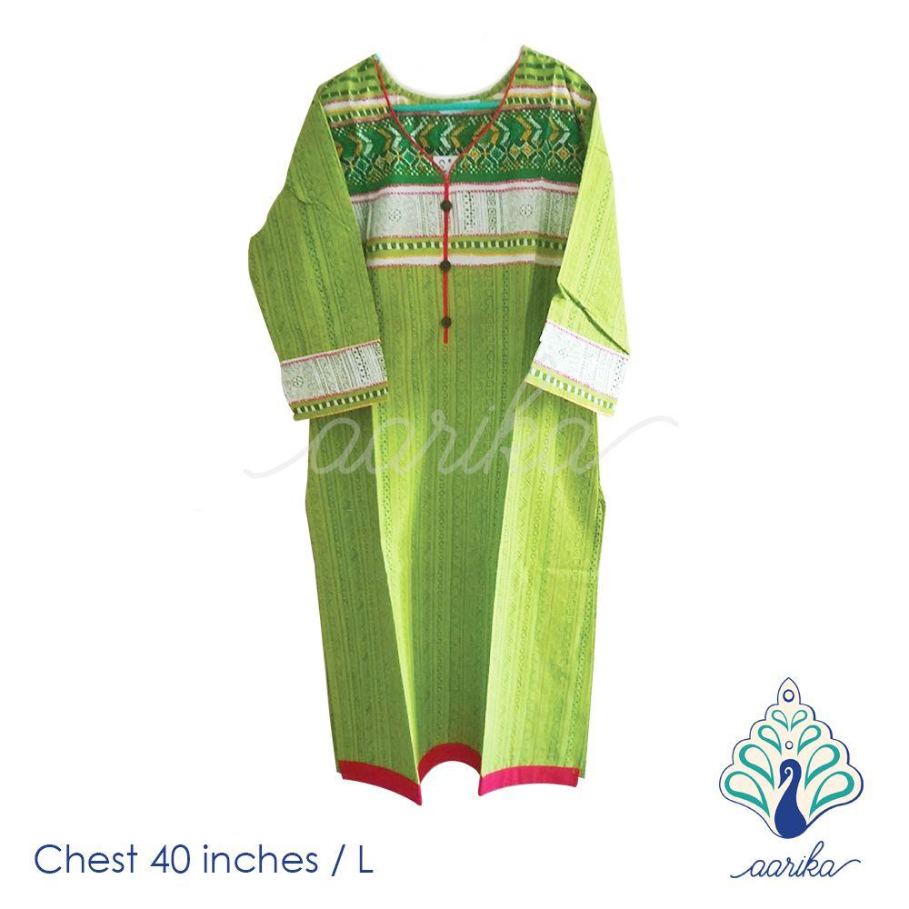 Aarika Green Printed Cotton Kurtha Size L