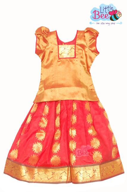 Little Bee Embossed Art Silk Pattu Pavadai