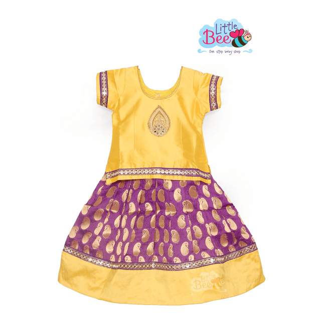Little Bee Yellow Pattu Pavadai