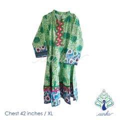 Aarika Cotton Anarkali Kurta with Peacock Motif Size XL