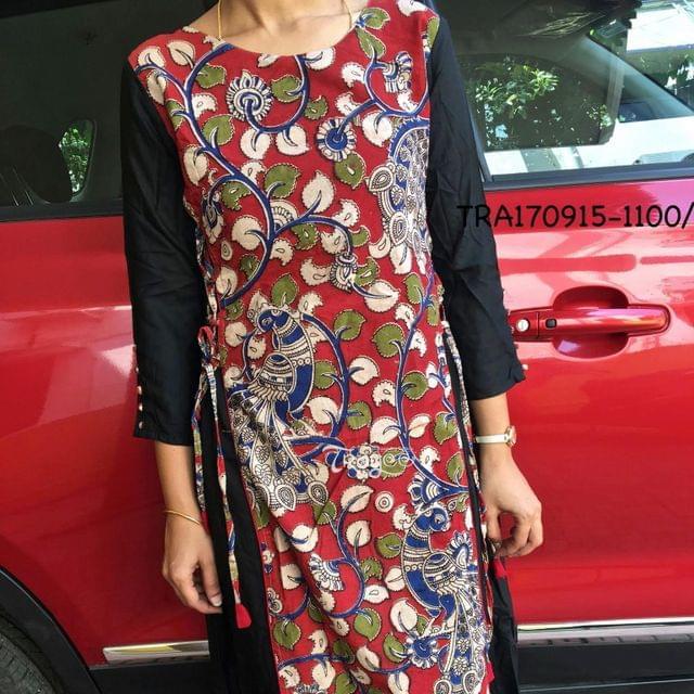 Trayee Black Kalamkari Anarkali Kurta Size M