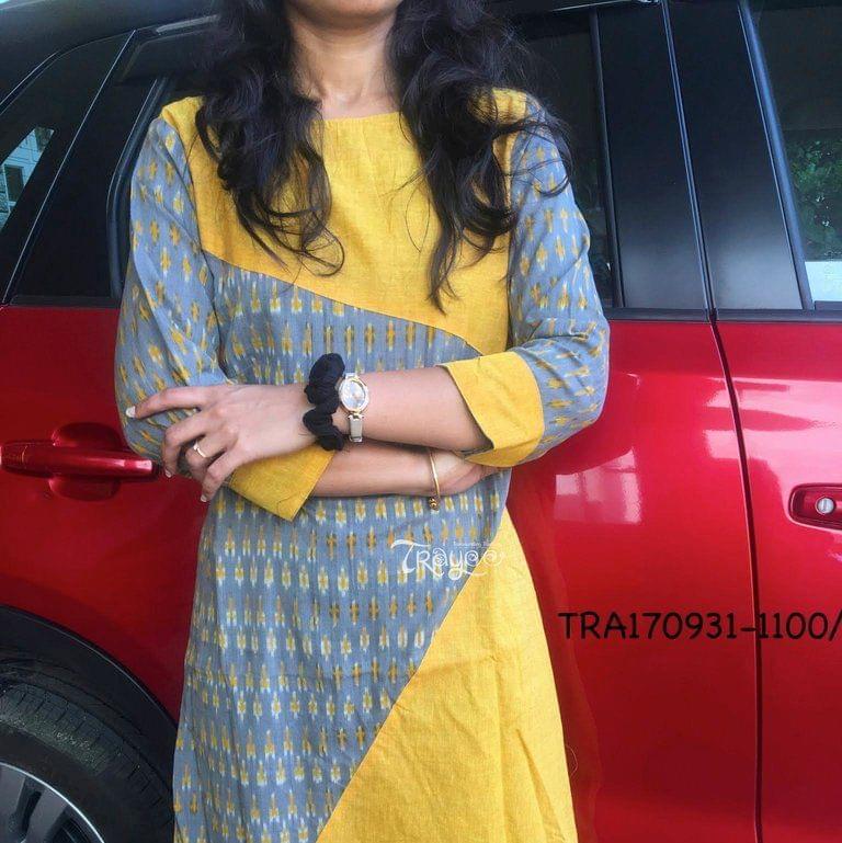 Trayee Yellow Ikkat kurta Size XL