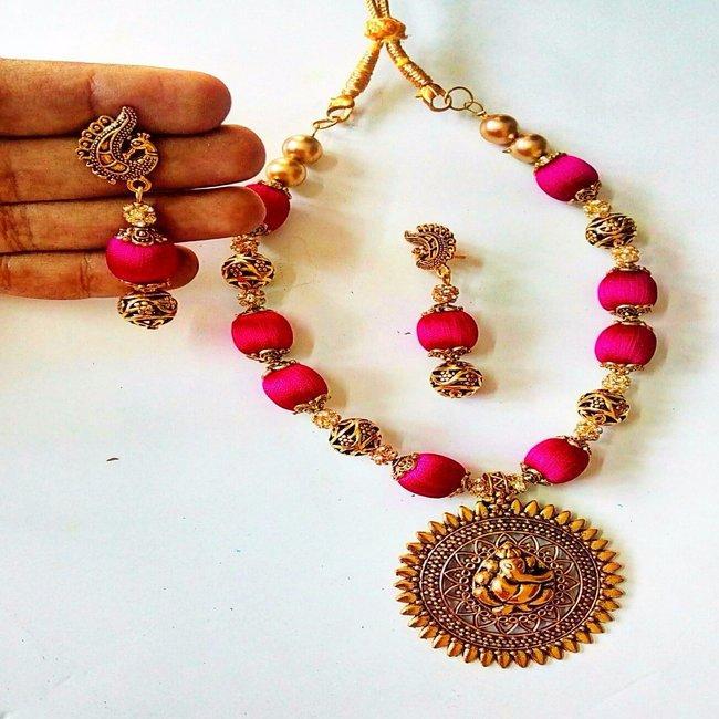 Smile Decors Antique Ganesha Silk Thread Jewellery